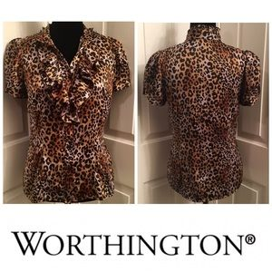 WORTHINGTON Women's Sheer Ruffled button up top S
